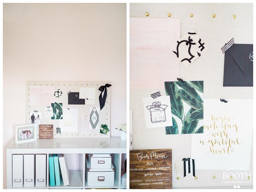 blush, green, and white mid-century modern inspired wedding mood board designed by Saffron Avenue