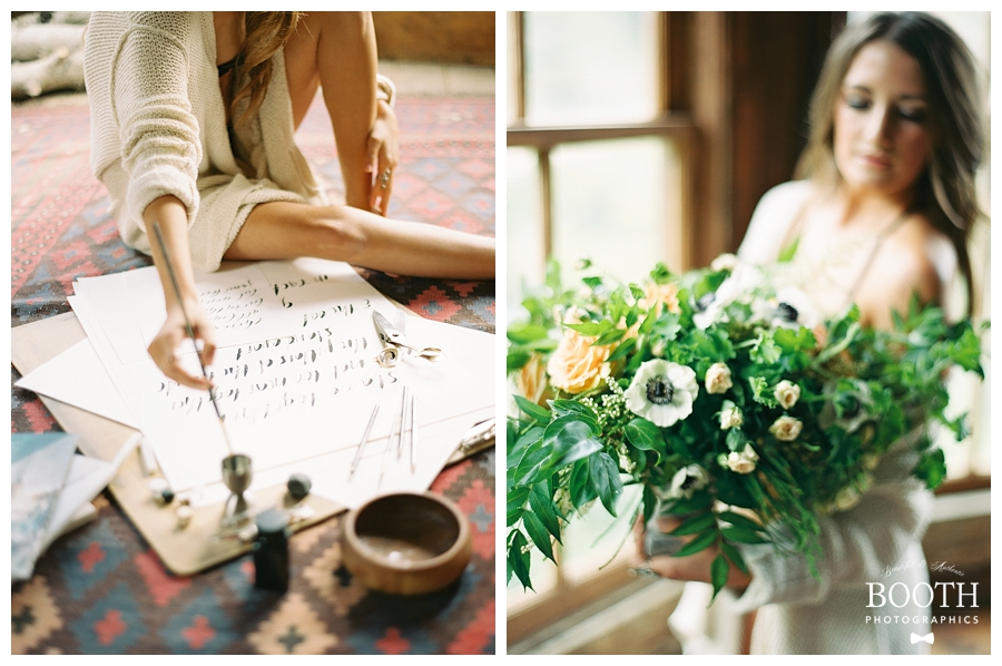 bride sitting on floor and holding fine art floral arrangement in her Colorado boudoir session by fine art film photographers, Booth Photographics