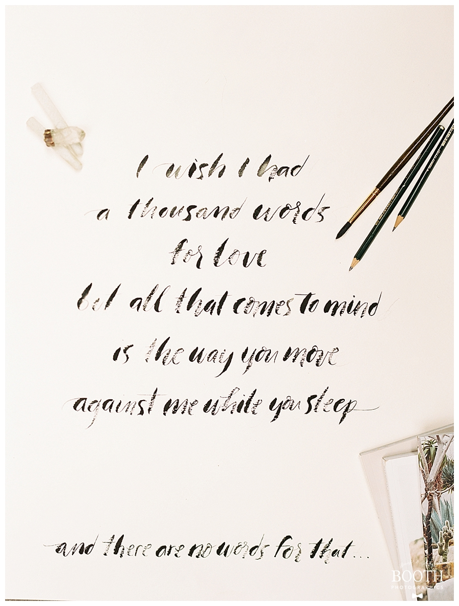 brush stroke calligraphy by The Wells Makery for a bridal boudoir session in the Colorado Rockies by destination fine art film photographers, Booth Photographics