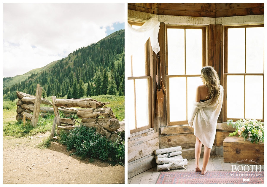 bridal boudoir session in the Colorado Rockies by destination fine art film photographers, Booth Photographics