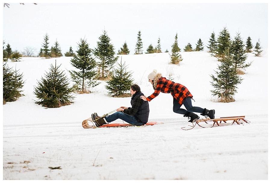 couple sledding