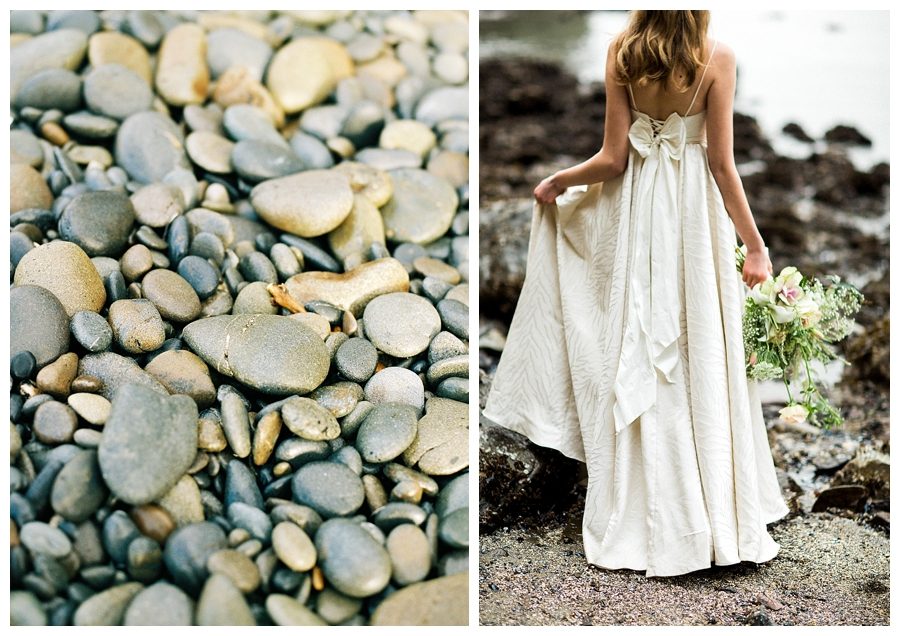 Bride walking to Siwash Rock in Stanley Park,Vancouver in a Truvelle wedding dress, photographed by destination wedding photographers, Booth Photographics