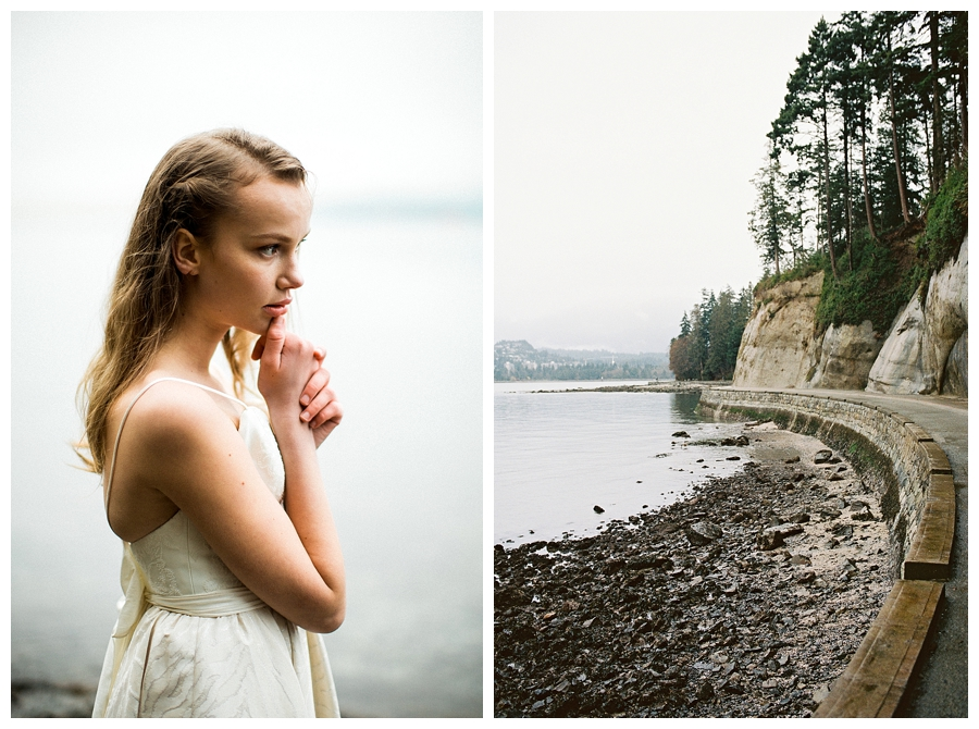 Bride at Siwash Rock in Stanley Park,Vancouver in a Truvelle wedding dress, photographed by destination wedding photographers, Booth Photographics