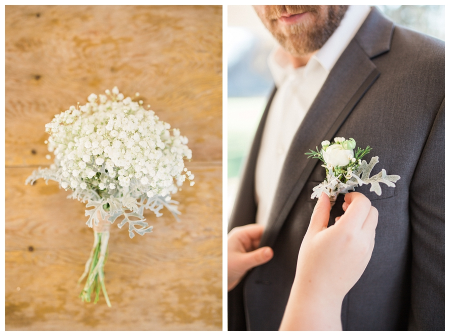 baby's breath and dusty miller bouttoniere on a custom gray wool suit for a rustic fall outdoor wedding