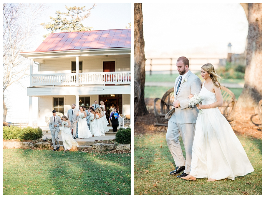 Bridal party processing from a rustic farmhouse for a rustic outdoor wedding ceremony at Sugarland Barn