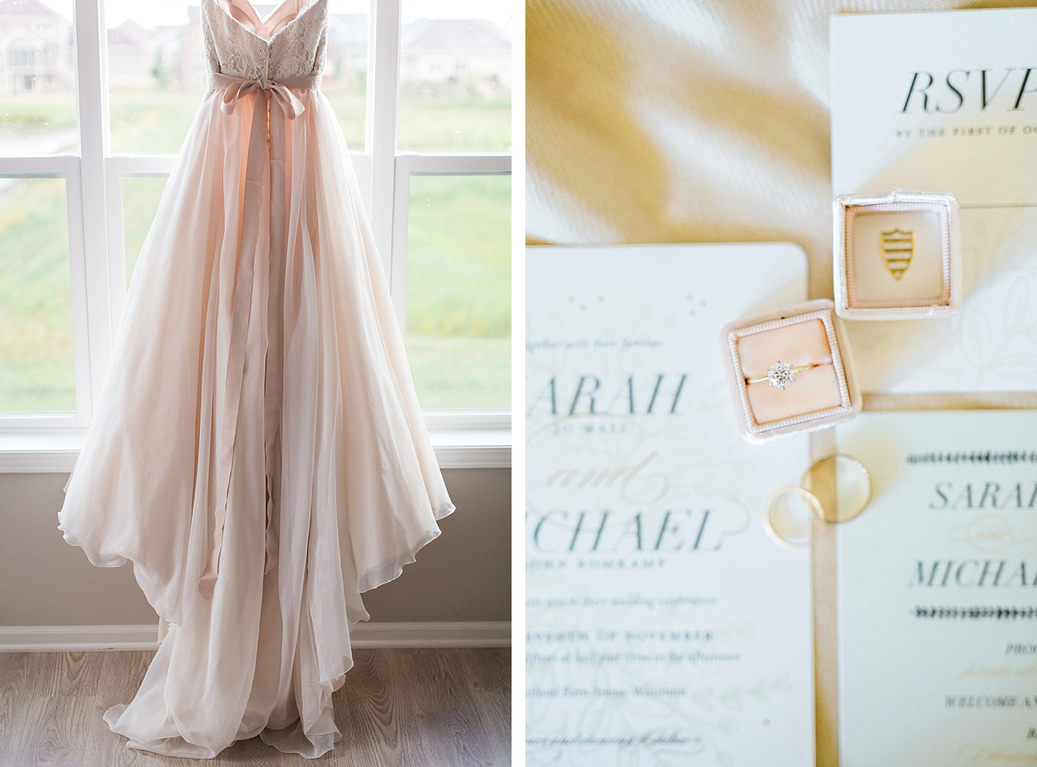 Blush Essence of Australia wedding gown and wedding ring in a blush The Mrs. Box for a rustic and elegant outdoor wedding