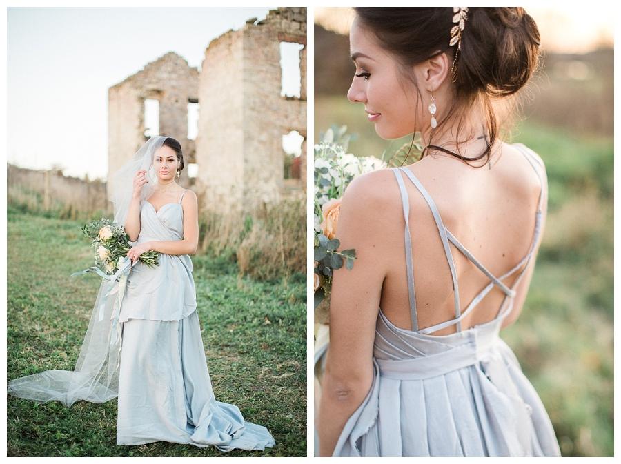 Gray fine art bridal gown