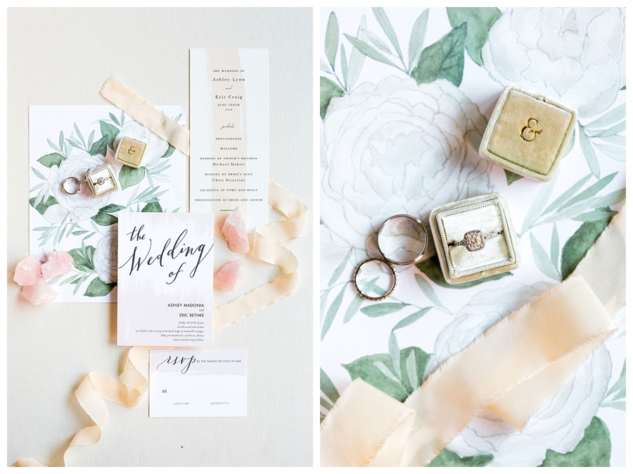 fine art wedding styling of watercolor invitation suite