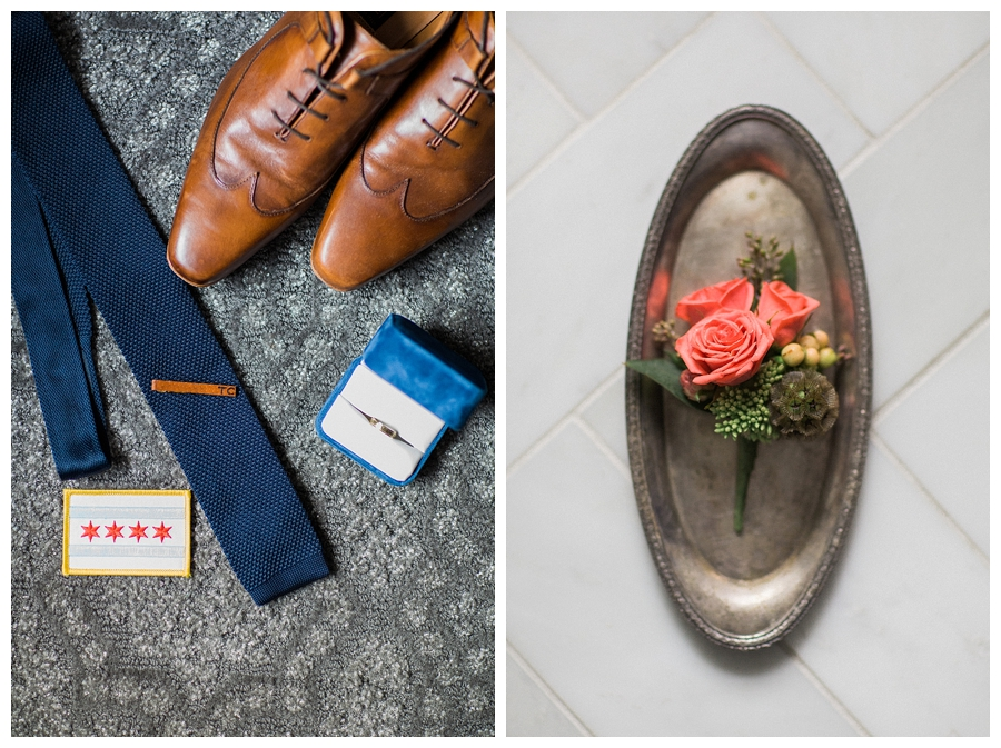 fine art wedding photography of groom's shoes and getting ready details at the InterContinental Mag Mile