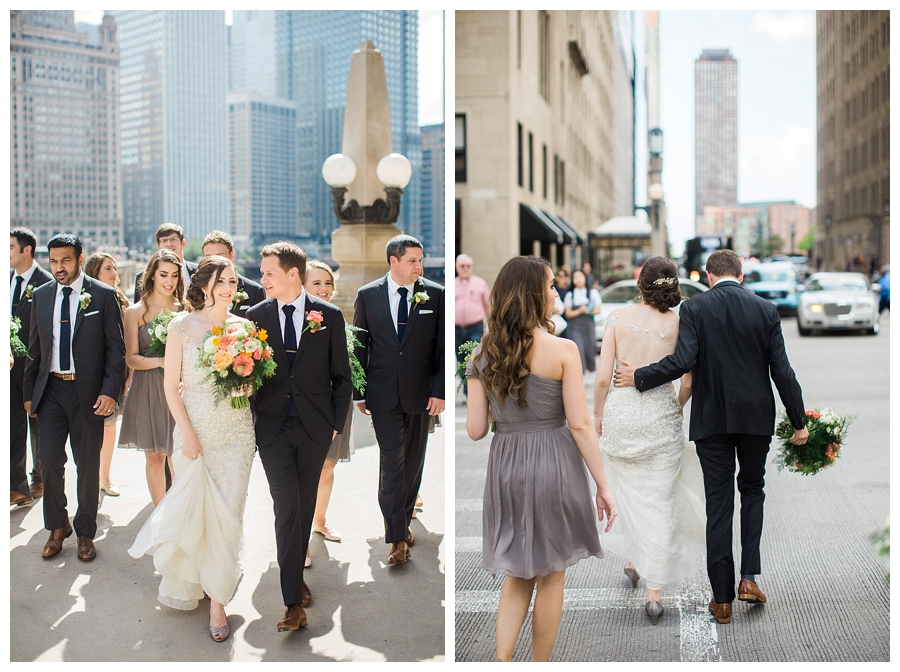fine art bridal party photography at the Wrigley Building in Chicago