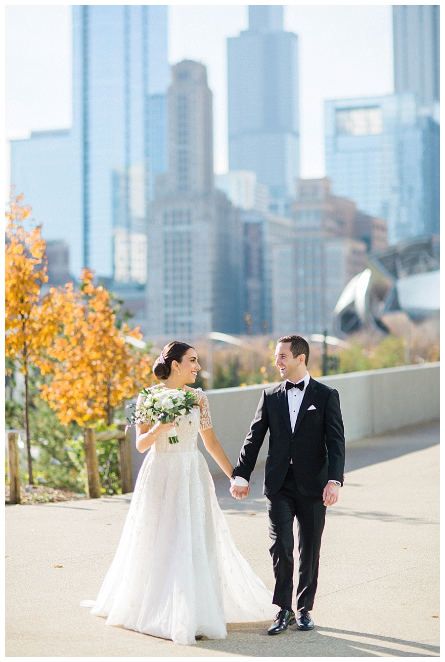 fine art photography of bride and groom at Maggie Daley Park, Chicago