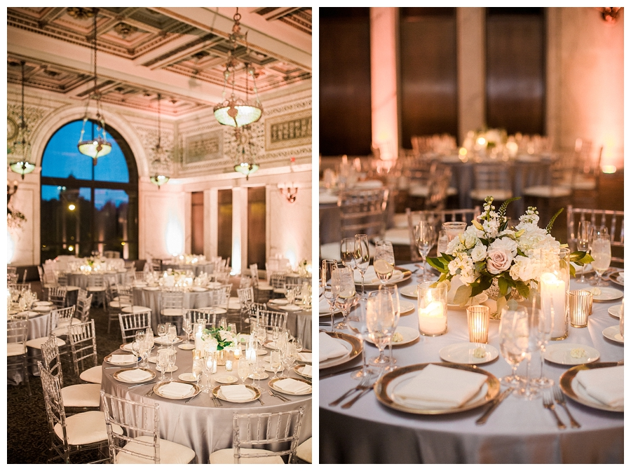 fine art wedding photography of black tie reception at Chicago Cultural Center, Chicago
