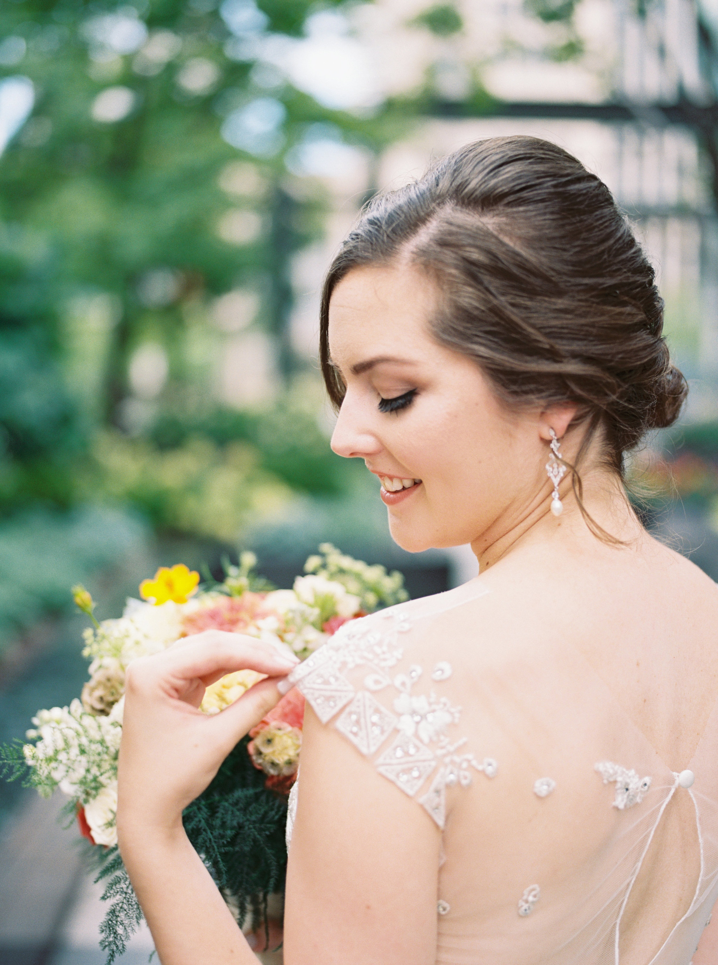 Bride wearing Liancarlo wedding gownat her luxury wedding at Artifact Events in Chicago