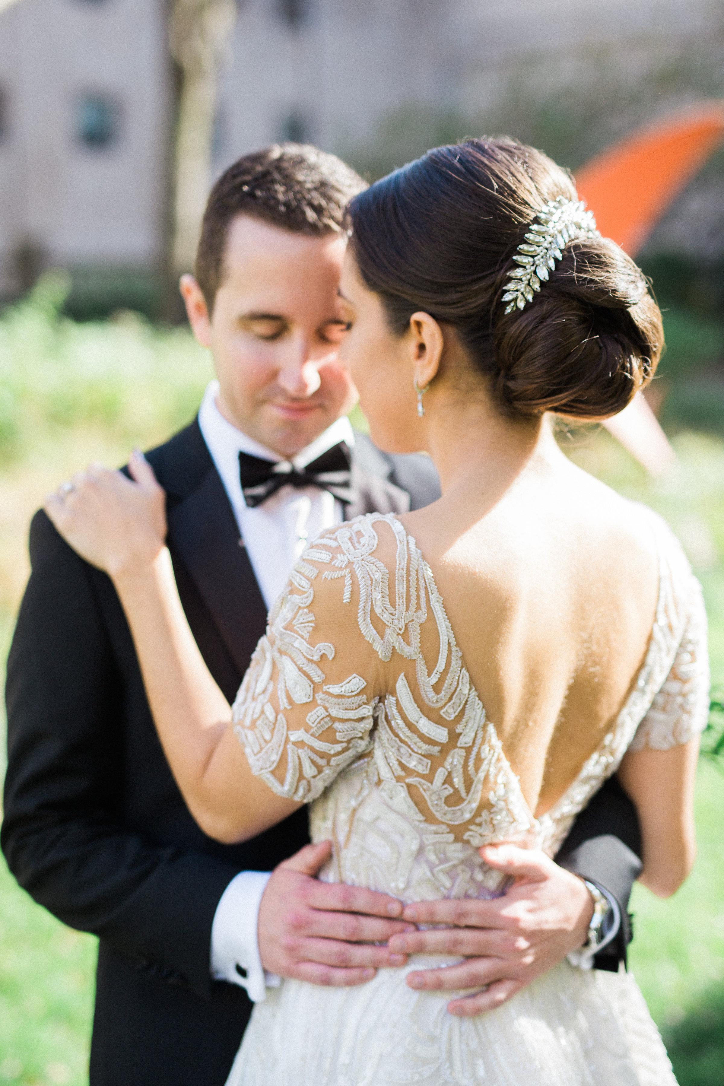 Bride wearing Zuhair Muradwedding gown at her luxury wedding at Chicago Cultural Centerin Chicago