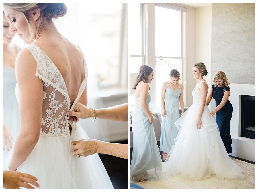 Bride getting ready for her Milwaukee Art Museum wedding