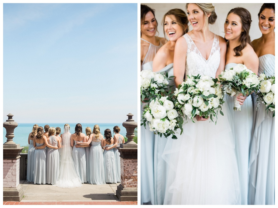 Bridesmaids in ice blue gowns for bridal party photos at the Villa Terrace Museum of Decorative Arts