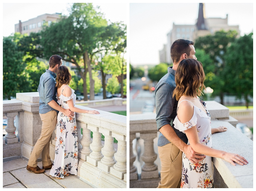 couple hugging at the Madison Capitol