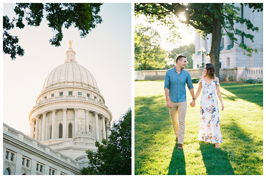 couple walking by Madison Capitol