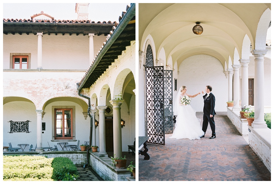 Bride and groom's first look at the Villa Terrace Museum of Decorative Arts