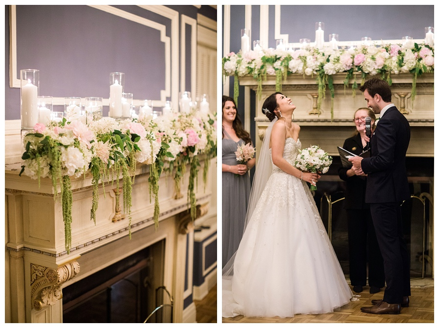 Classic and romantic fireplacewedding ceremony at the Madison Club,