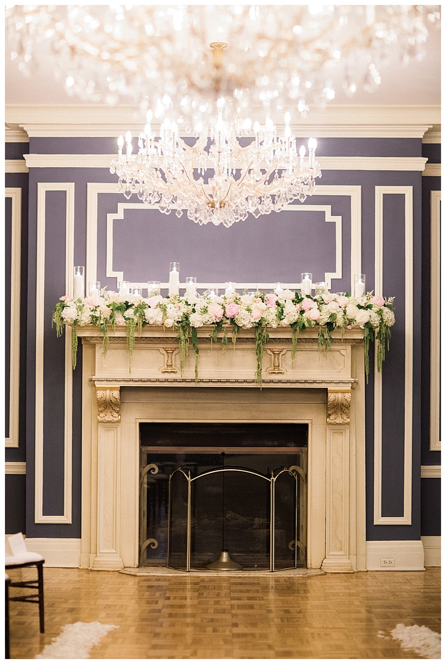 Classic and romantic fireplacewedding ceremony at the Madison Club