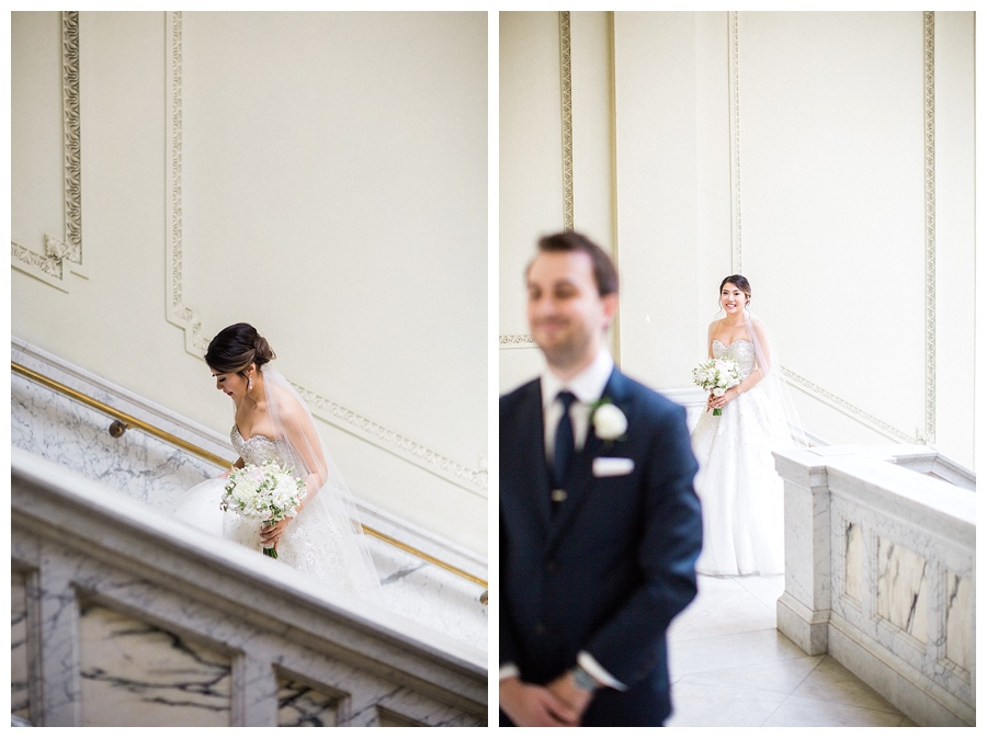 bride and groom's classic first look at the Wisconsin Historical Society