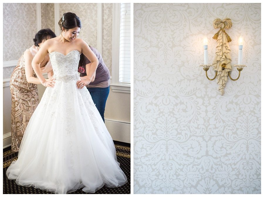 bride getting into her gown for her wedding at the Madison Club