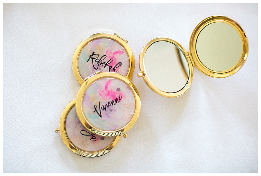 custom bridal floral mirrored compacts