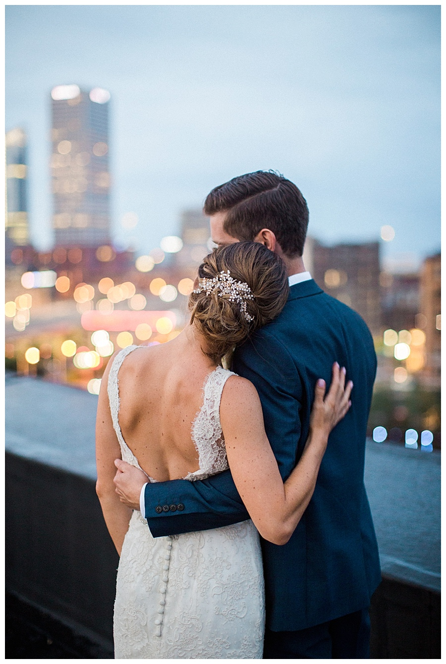 bride and groom photos on the rooftop of the Pritzlaff in Milwaukee
