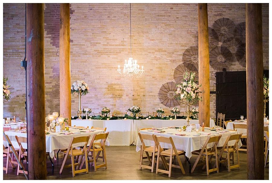 feminine and industrial wedding reception at the Pritzlaff