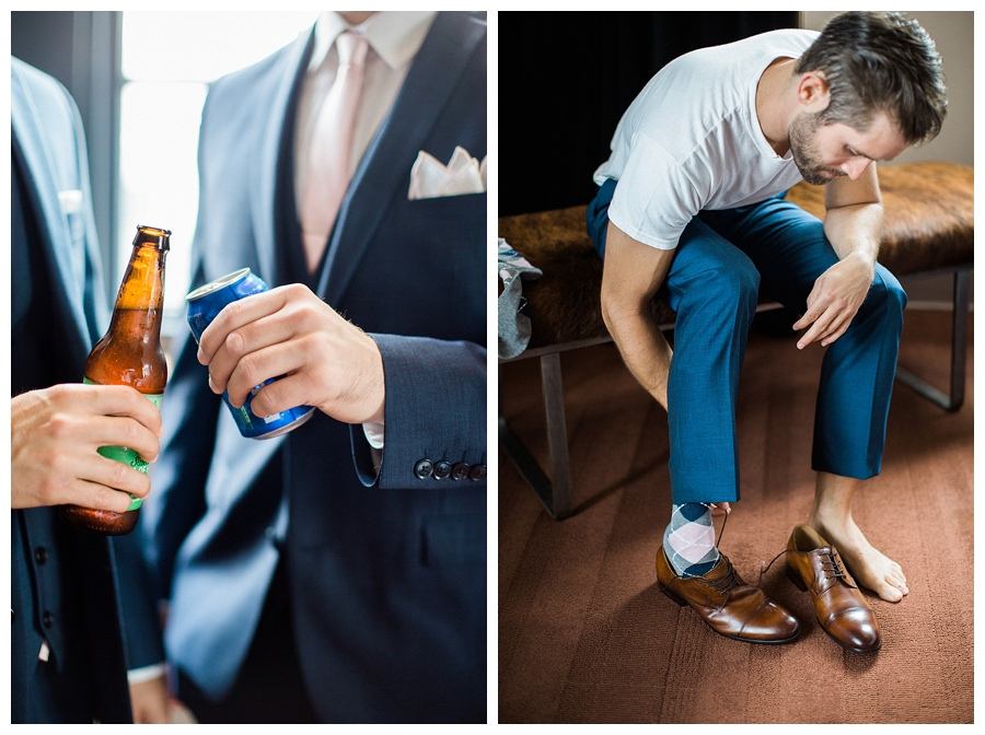 Groom getting ready at the Iron Horse Hotel