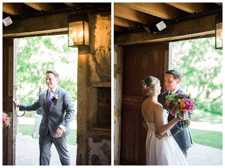 couple's first look before wedding at the Farm at Dover