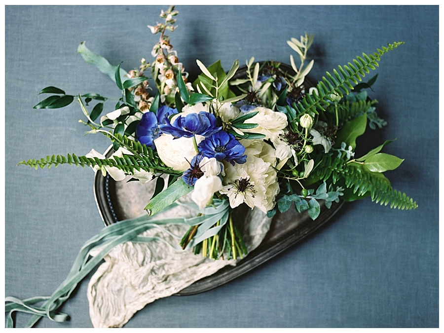Indigo and cream bouquet designed by Flower & Bee