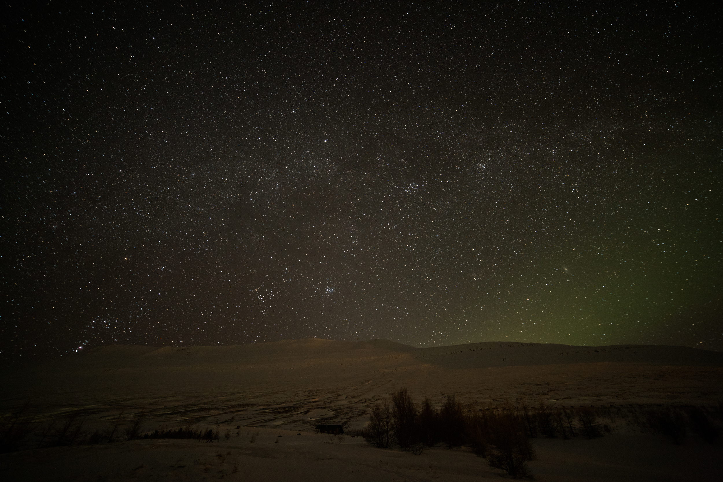 Shooting west from south of Akureyri. March 2, 2016. Sony A7rII with Rokinon 14mm f/2.8, ISO 3200, 30s.