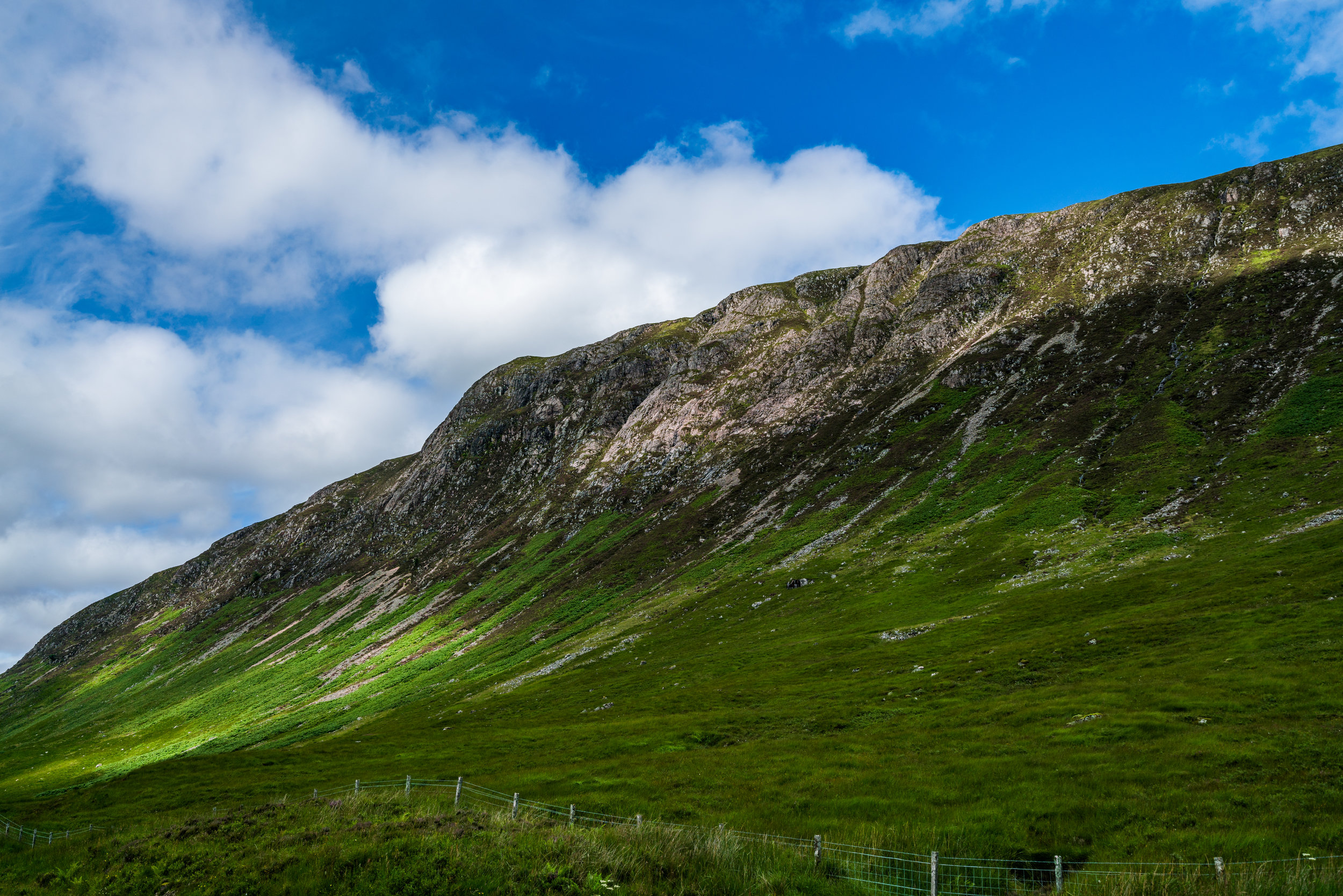 Hills of Scotland along the Glencoe Fort William road