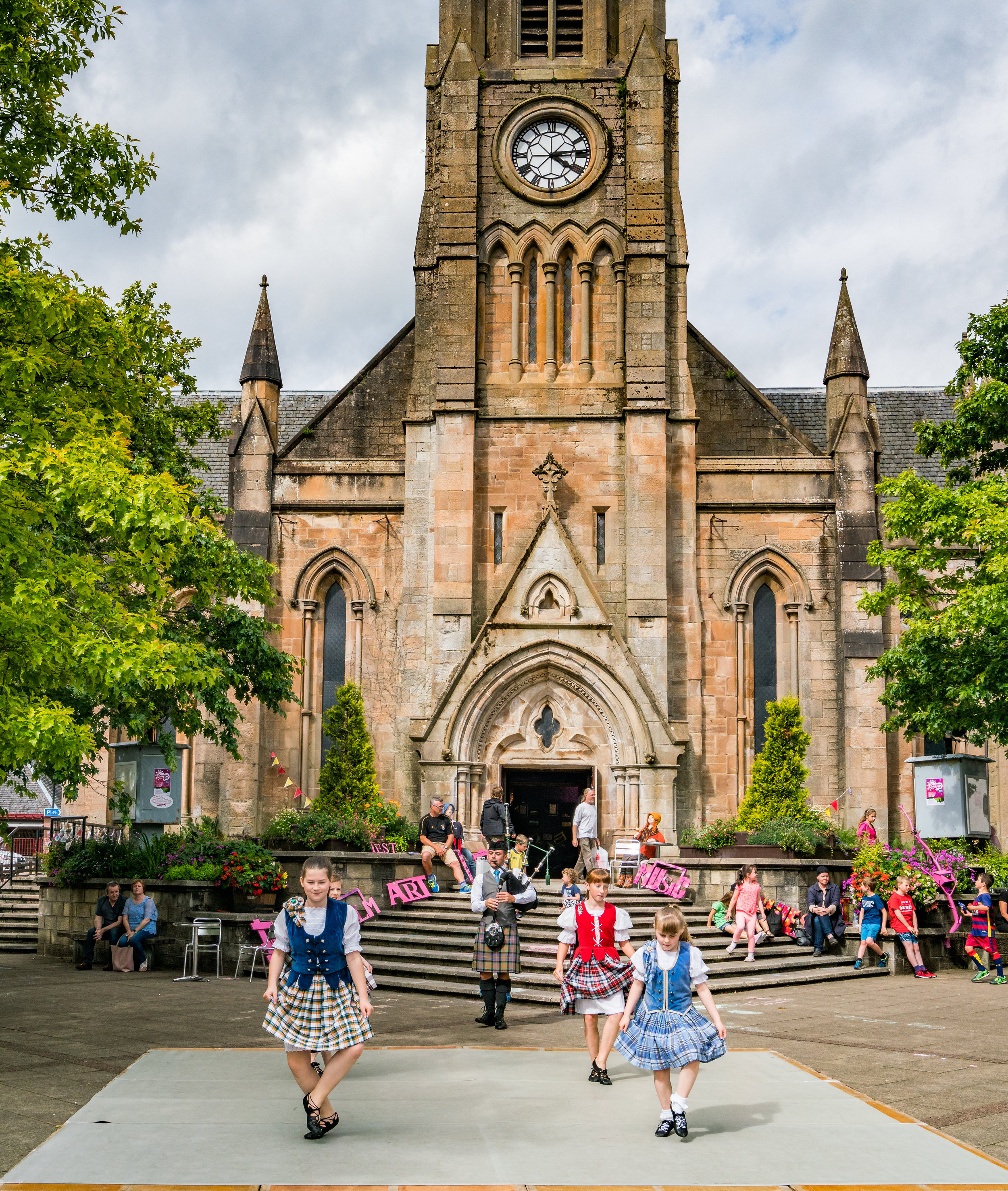 The dancing happened in front of St. Kessog's Church