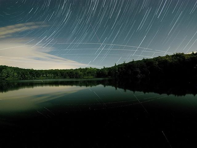 Star trails over looking the lake at URJ Kutz Camp