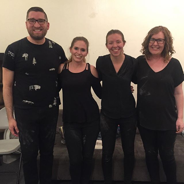 """Covered in chalk and couldn't be happier!! A huge thank you to @tuesdaysatmonkspace for having us on tonight's program and to our fantastic performers Katie Eikam, Jennifer Bewerse, Adriane Hill, and Jonathan Morgan for rocking Mayke Nas' """"I Delayed People's Flights By Walking Slowly in Narrow Hallways""""! Such a pleasure to be part of this awesome concert! 📸: @nickwritesmusic  #nowhearensemble #tuesdaysatmonkspace #newmusic"""