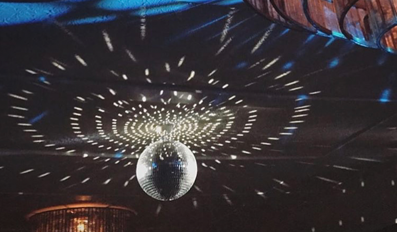 Liaison Room visual identity disco ball lighting