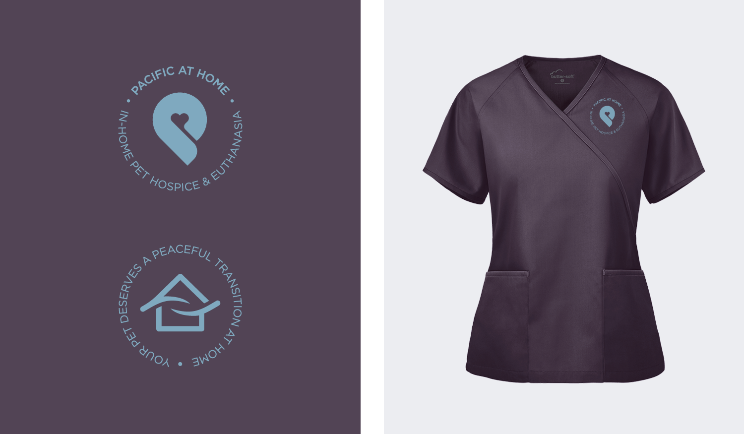 Pacific at Home visual identity secondary marks and medical apparel scrub top
