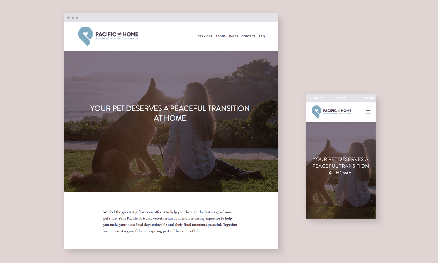 Pacific at Home visual identity website design desktop mobile