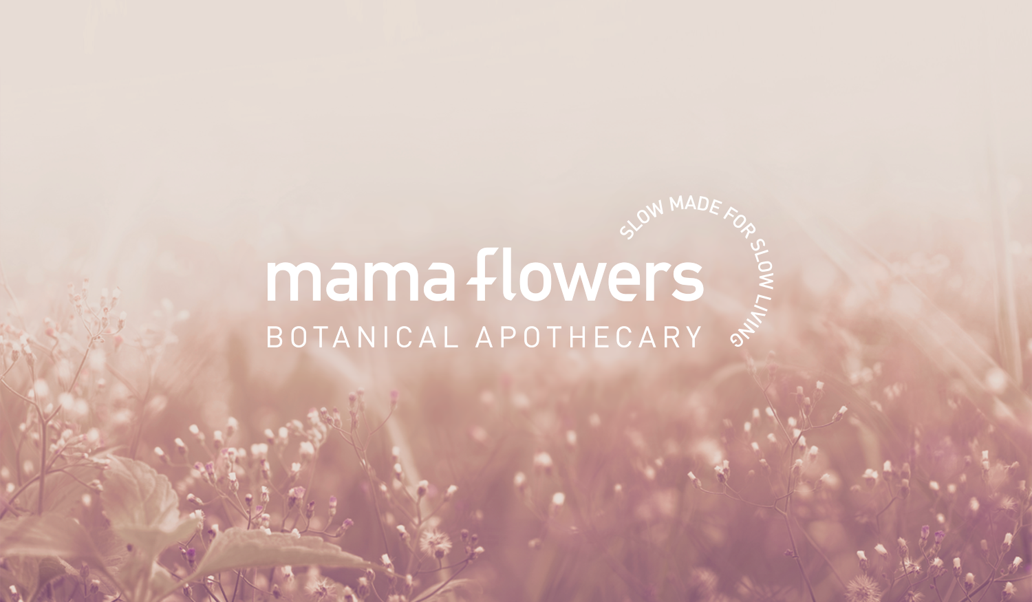 Mama Flowers visual identity logo lockup with tagline