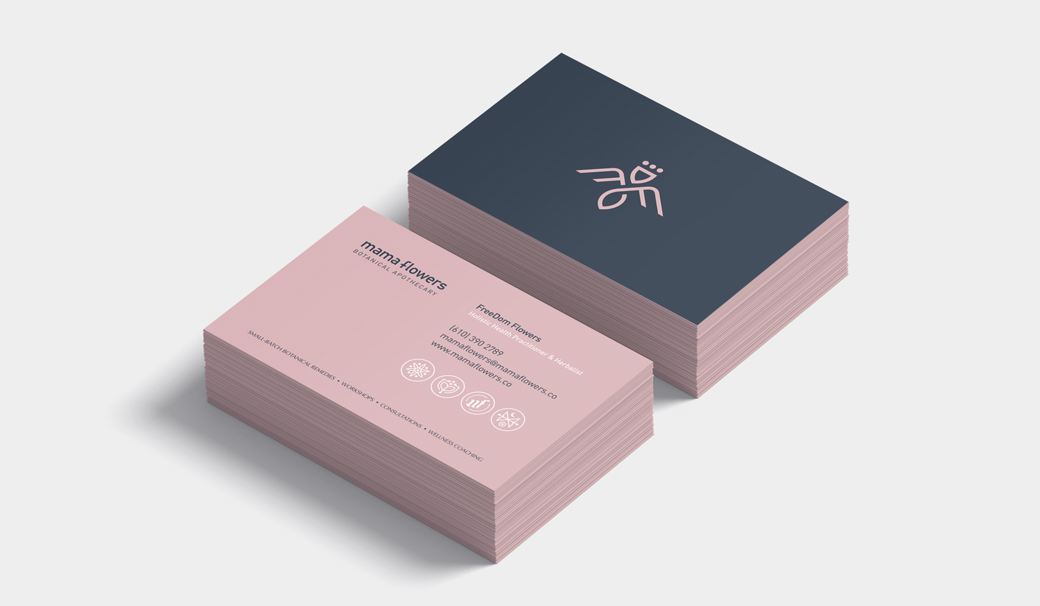Mama Flowers visual identity business card design