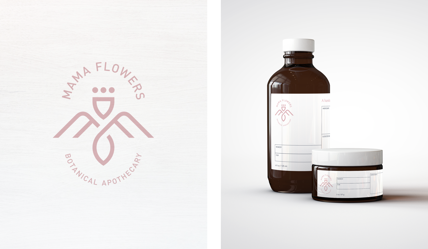 Mama Flowers visual identity logo lockup and packaging label design