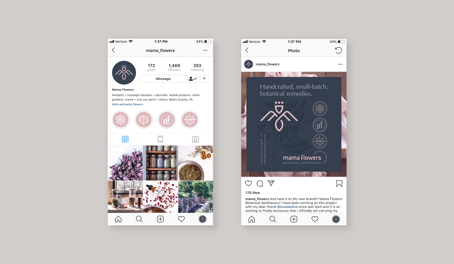 Mama Flowers visual identity social media profile graphics for Instagram