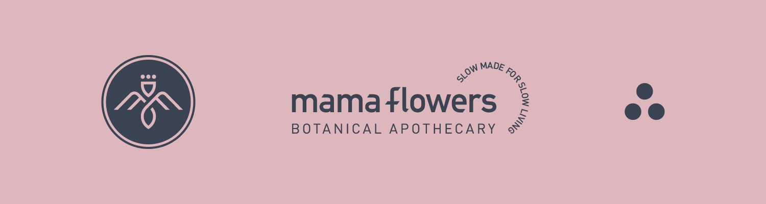Mama Flowers visual identity symbol logo lockup supporting graphics