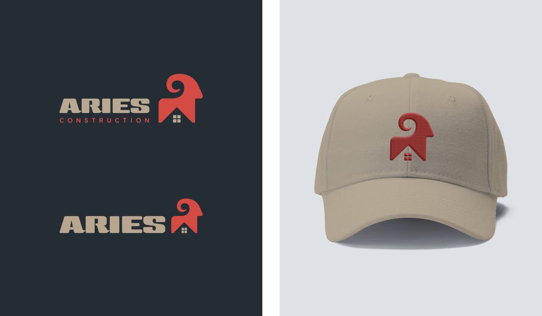 Aries visual identity logo lockups and work apparel cap