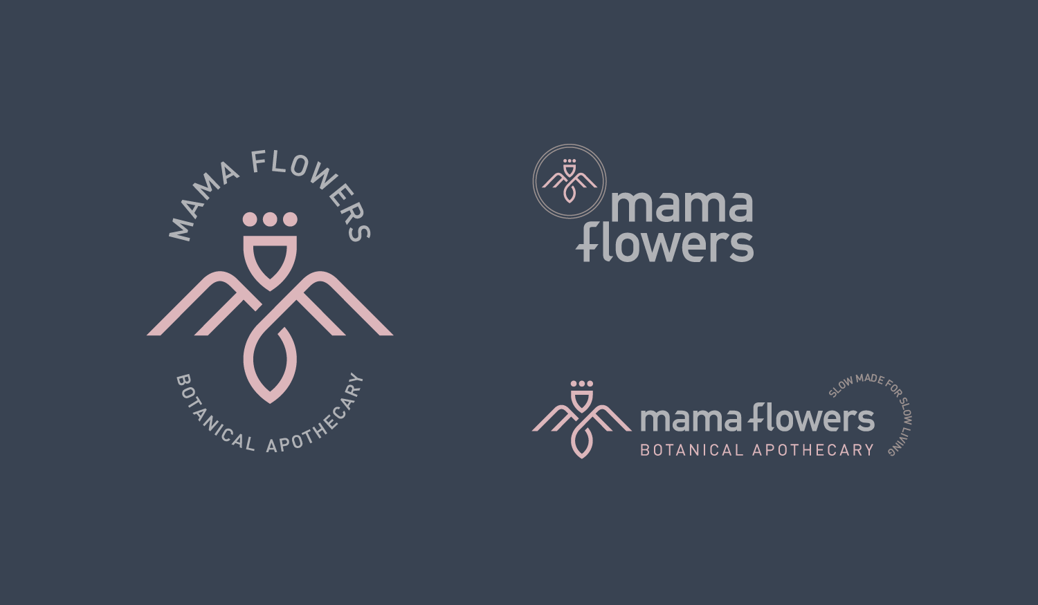 Mama Flowers visual identity logo lockups