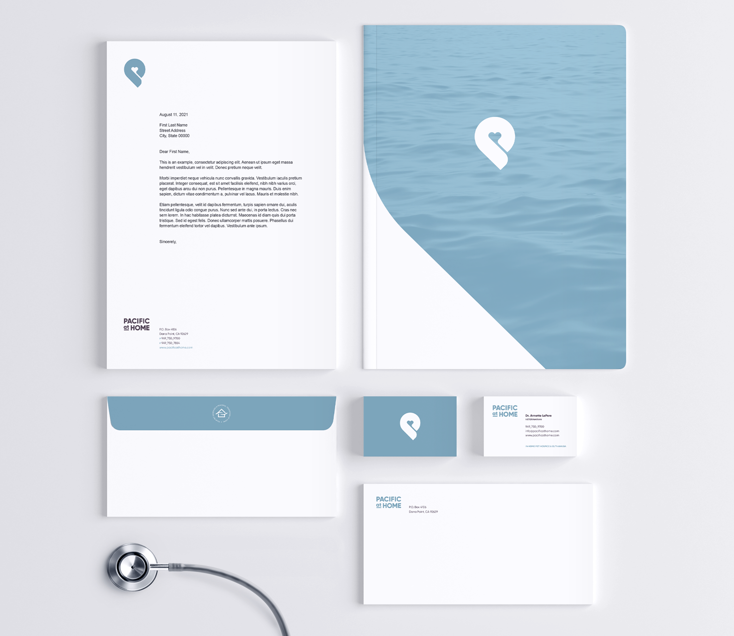 Pacific at Home visual identity stationery system print collateral