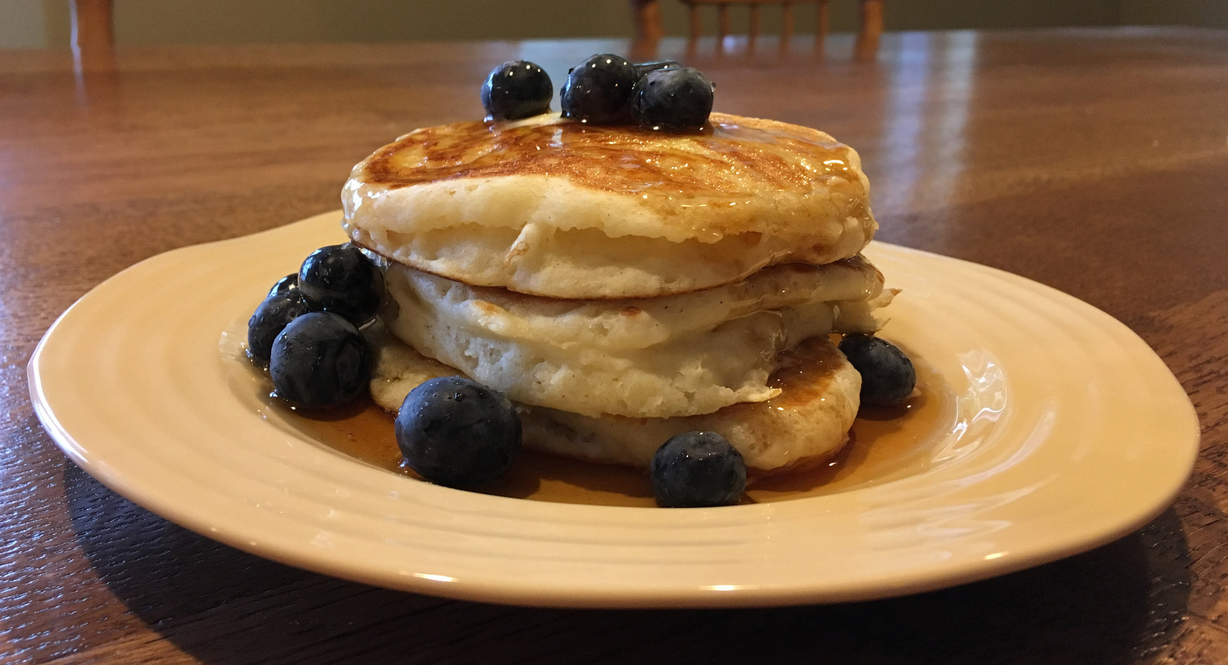 Farmhouse Buttermilk Pancakes - Gluten free and made with Cultured Buttermilk and organic blueberries!